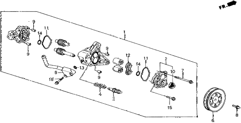 1989 accord LXI 2 DOOR 5MT P.S. PUMP COMPONENTS diagram