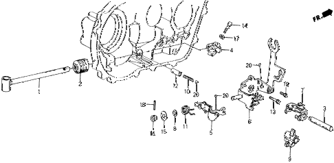 1988 accord LXI 2 DOOR 5MT MT SHIFT ARM ROD diagram