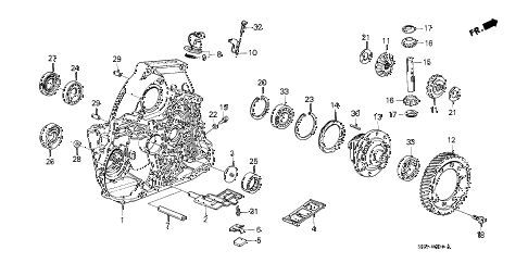 1988 crx DX 2 DOOR 4AT AT TORQUE CONVERTER HOUSING diagram