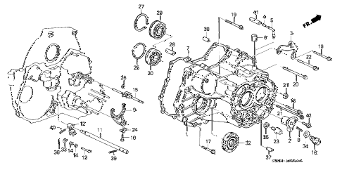 1989 crx DX 2 DOOR 4AT AT TRANSMISSION HOUSING diagram