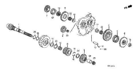 1988 crx DX 2 DOOR 4AT AT COUNTERSHAFT diagram