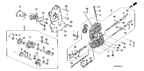 1989 crx DX 2 DOOR 4AT AT MAIN VALVE BODY diagram