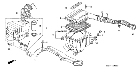 1988 crx SI 2 DOOR 5MT AIR CLEANER diagram