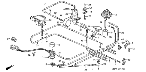 1989 crx HF 2 DOOR 5MT CONTROL BOX TUBING diagram