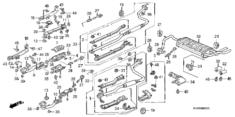 1990 crx HF 2 DOOR 5MT EXHAUST SYSTEM diagram