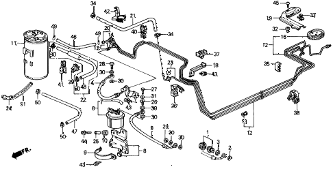 1989 crx SI 2 DOOR 5MT FUEL PIPE diagram
