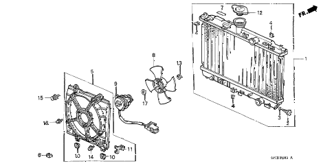 1988 crx SI 2 DOOR 5MT RADIATOR (TOYO) diagram