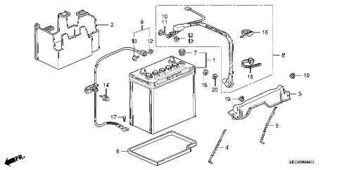 1989 crx DX 2 DOOR 5MT BATTERY - BATTERY CABLE diagram