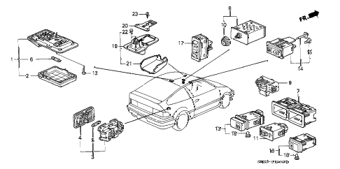 1988 crx SI 2 DOOR 5MT INTERIOR LIGHT - SWITCH diagram
