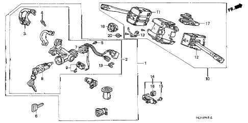 1989 crx HF 2 DOOR 5MT COMBINATION SWITCH diagram