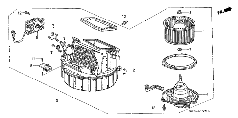 1990 crx HF 2 DOOR 5MT HEATER BLOWER diagram