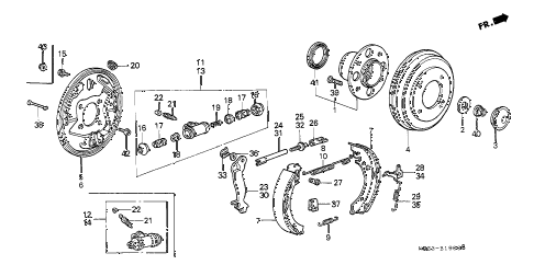 1988 crx HF 2 DOOR 5MT REAR BRAKE diagram