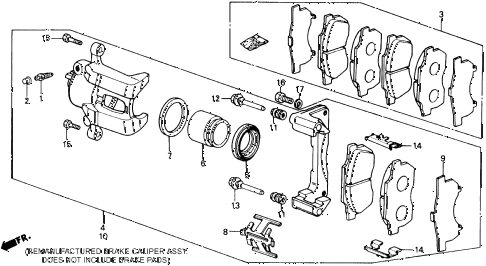 1989 crx HF 2 DOOR 5MT FRONT BRAKE CALIPER (1) diagram