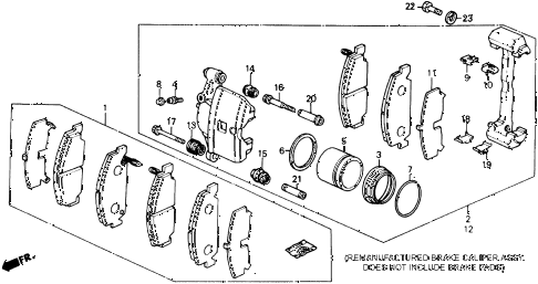1989 crx DX 2 DOOR 5MT FRONT BRAKE CALIPER (2) diagram