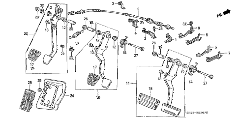 1988 crx HF 2 DOOR 5MT BRAKE PEDAL - CLUTCH PEDAL diagram