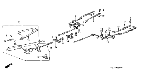 1989 crx DX 2 DOOR 4AT PARKING BRAKE diagram
