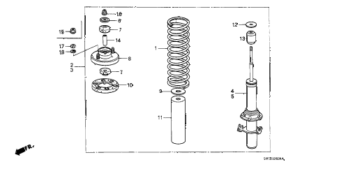 1991 crx SI 2 DOOR 5MT FRONT SHOCK ABSORBER diagram