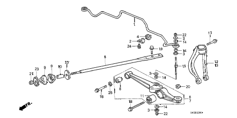1990 crx HF 2 DOOR 5MT FRONT LOWER ARM diagram