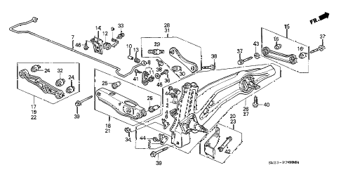 1990 crx HF 2 DOOR 5MT REAR LOWER ARM diagram
