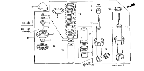 1988 crx HF 2 DOOR 5MT REAR SHOCK ABSORBER diagram
