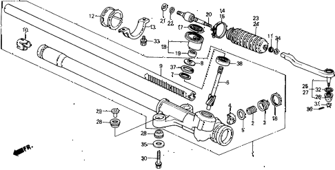 1989 crx DX 2 DOOR 5MT STEERING GEAR BOX - TIE ROD diagram