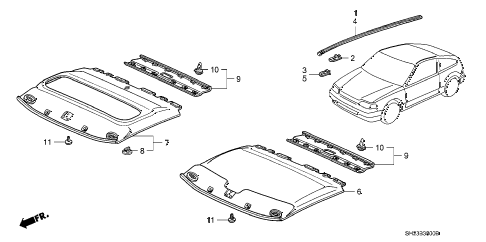 1989 crx SI 2 DOOR 5MT HEADLINER TRIM diagram