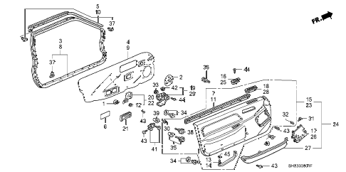 1989 crx SI 2 DOOR 5MT FRONT DOOR LINING diagram