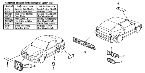 1989 crx DX 2 DOOR 5MT EMBLEMS diagram