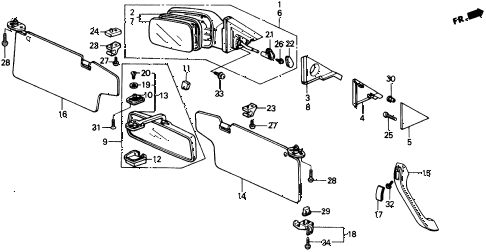 1991 crx SI 2 DOOR 5MT INTERIOR ACCESSORIES - DOOR MIRROR diagram
