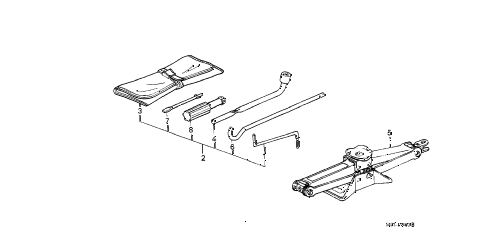 1989 crx SI 2 DOOR 5MT TOOLS - JACK diagram