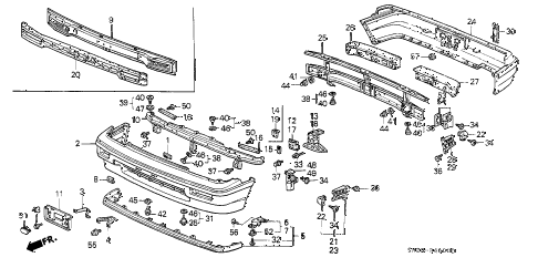 1988 crx SI 2 DOOR 5MT BUMPER diagram