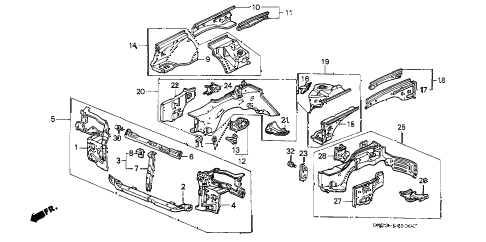 1989 crx DX 2 DOOR 5MT FRONT BULKHEAD diagram