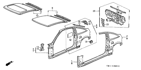 1988 crx SI 2 DOOR 5MT OUTER PANEL diagram