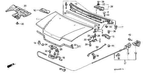 1991 crx SI 2 DOOR 5MT HOOD diagram