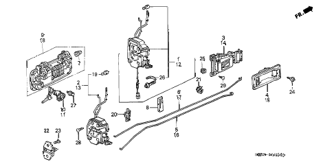 1989 crx DX 2 DOOR 5MT DOOR LOCK diagram