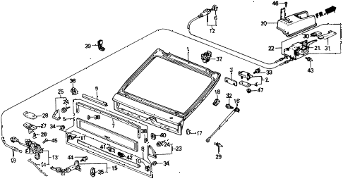 1988 crx DX 2 DOOR 4AT TAILGATE diagram