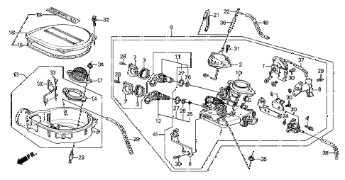 1989 crx DX 2 DOOR 5MT THROTTLE BODY (1) diagram