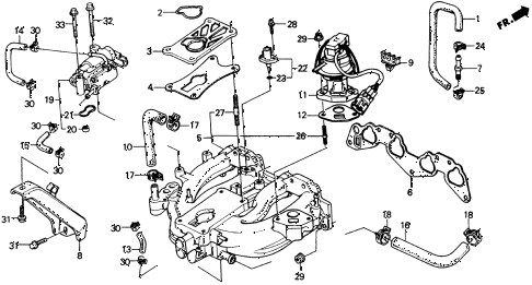 1989 crx DX 2 DOOR 4AT INTAKE MANIFOLD (1) diagram