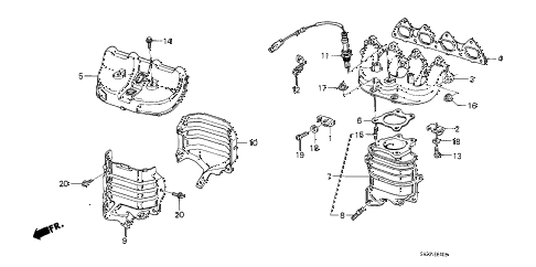 1989 crx HF 2 DOOR 5MT EXHAUST MANIFOLD (1) diagram