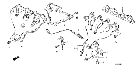 1991 crx SI 2 DOOR 5MT EXHAUST MANIFOLD (2) diagram