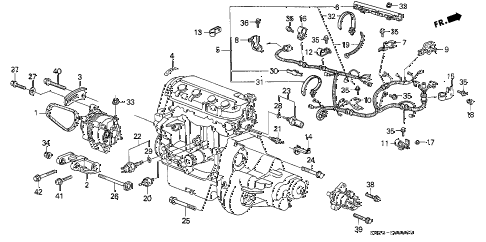 1989 crx DX 2 DOOR 4AT ENGINE SUB CORD - CLAMP diagram