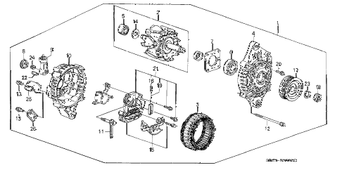 1989 crx DX 2 DOOR 4AT ALTERNATOR (MITSUBISHI) diagram