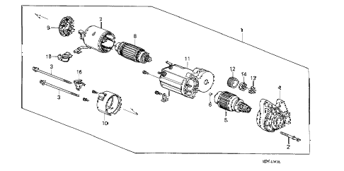 1989 crx SI 2 DOOR 5MT STARTER MOTOR (DENSO) (1) diagram