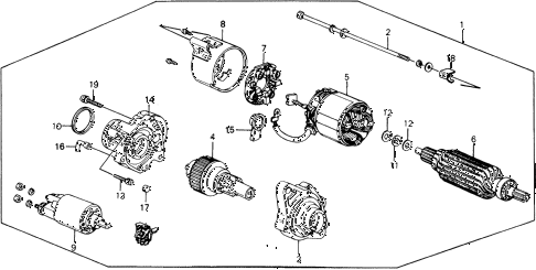 1989 crx DX 2 DOOR 5MT STARTER MOTOR (MITSUBA) diagram