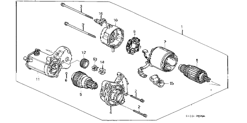 1991 crx SI 2 DOOR 5MT STARTER MOTOR (DENSO) (3) diagram