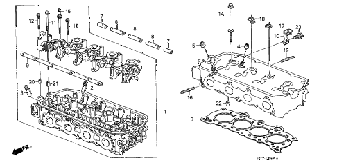 1988 crx DX 2 DOOR 4AT CYLINDER HEAD diagram