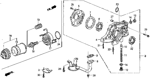 1989 crx DX 2 DOOR 4AT OIL PUMP - OIL STRAINER diagram