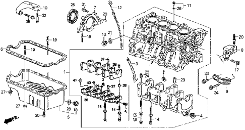 1991 crx SI 2 DOOR 5MT CYLINDER BLOCK - OIL PAN diagram