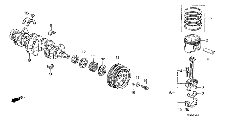 1988 crx DX 2 DOOR 4AT CRANKSHAFT - PISTON diagram