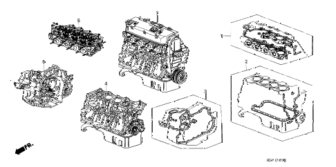 1989 crx DX 2 DOOR 4AT GASKET KIT - ENGINE ASSY.  - TRANSMISSION ASSY. diagram